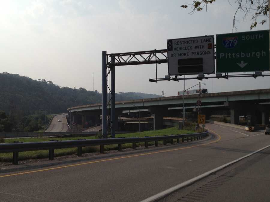 The high-occupancy vehicle lane on Interstate 279.