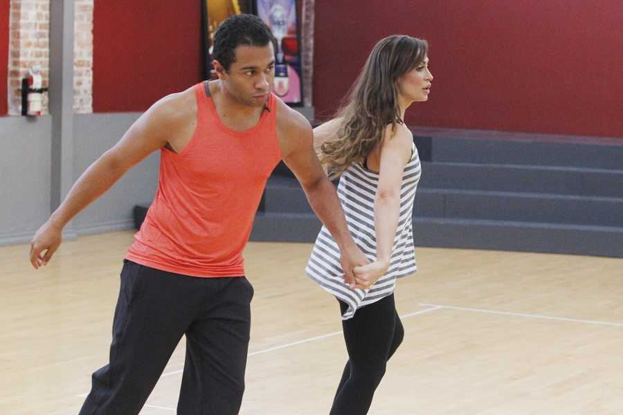 "CORBIN BLEU & KARINA SMIRNOFF - This season's dynamic lineup of stars -- including a sitcom legend, a reality mega-star, a football champion and a pop music sensation - will perform for the first time on live national television with their professional partners during the two-hour season premiere of ""Dancing with the Stars. (Photo Credit: ABC/Rick Rowell)"