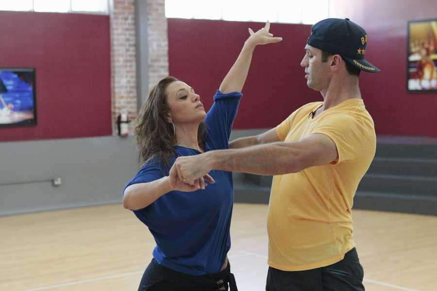 "LEAH REMINI & TONY DOVOLANI - This season's dynamic lineup of stars -- including a sitcom legend, a reality mega-star, a football champion and a pop music sensation - will perform for the first time on live national television with their professional partners during the two-hour season premiere of ""Dancing with the Stars. (Photo Credit: ABC/Rick Rowell)"