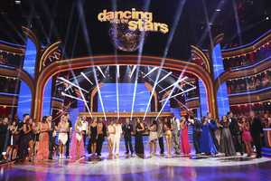 The cast at the end of the first episode of the 17 Season of Dancing With The Stars. (Photo by: ABC/Adam Taylor) -- Check out our photo gallery of the rehearsals.