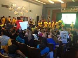Students at Spring Hill K-5 School got an unexpected thrill when they gathered in the auditorium to prepare for a Pittsburgh Pirates pep rally.