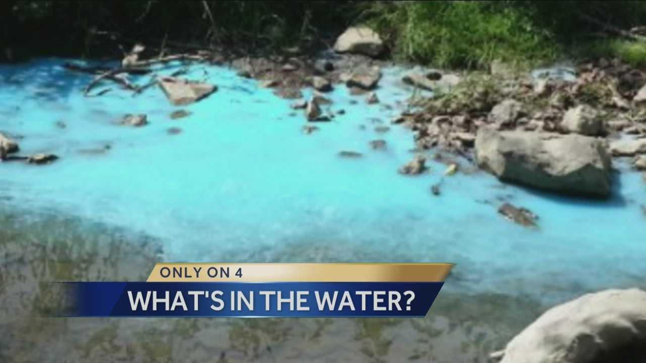 Cecil Township creek turns blue