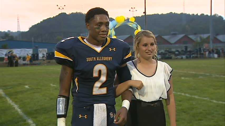 By halftime of the football game, she had already played a full soccer game, was crowned homecoming queen and put the only points on the score board for South Allegheny.