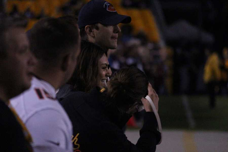 Hollywood actors Ashton Kutcher and Mila Kunis were in attendance for the Pittsburgh Steelers vs Chicago Bears game at Heinz Field in Pittsburgh, PA.