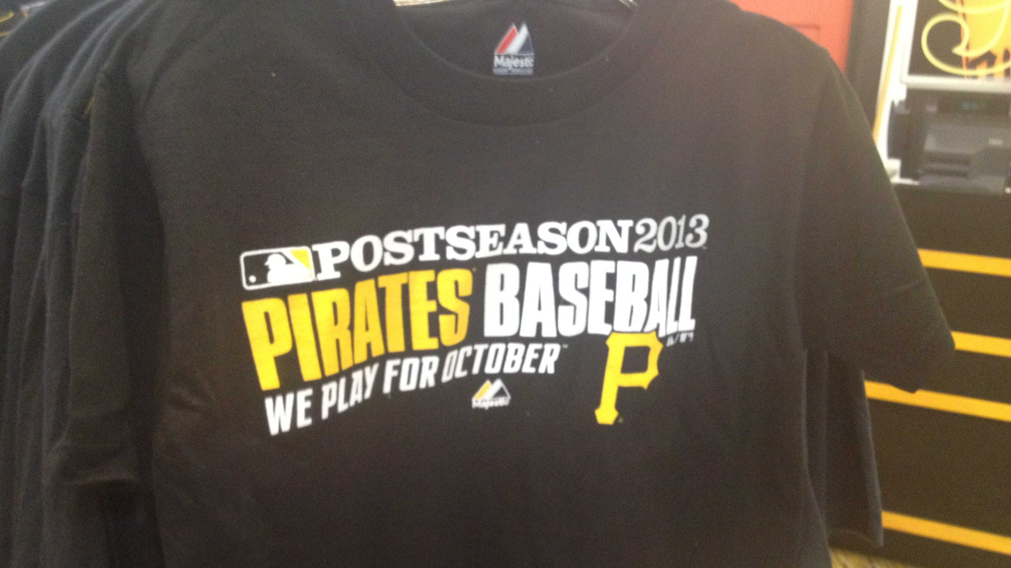 """We play for October:"" Four words that Pittsburgh baseball fans have been waiting 21 years to say are now printed on the official postseason shirts."
