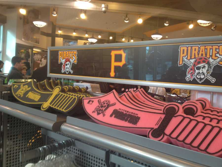 In addition to hats and shirts, the store also has foam Pirate swords for sale.
