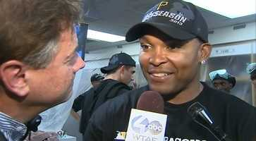 "Marlon Byrd was only a Pirate for a little more than a month, but he was one of the main reasons why the team popped champagne. ""I've played 12 seasons in the big leagues and this is my first time doing this,"" he said.  ""... It's so nice and refreshing knowing the Pittsburgh Pirates are back into the playoffs."""