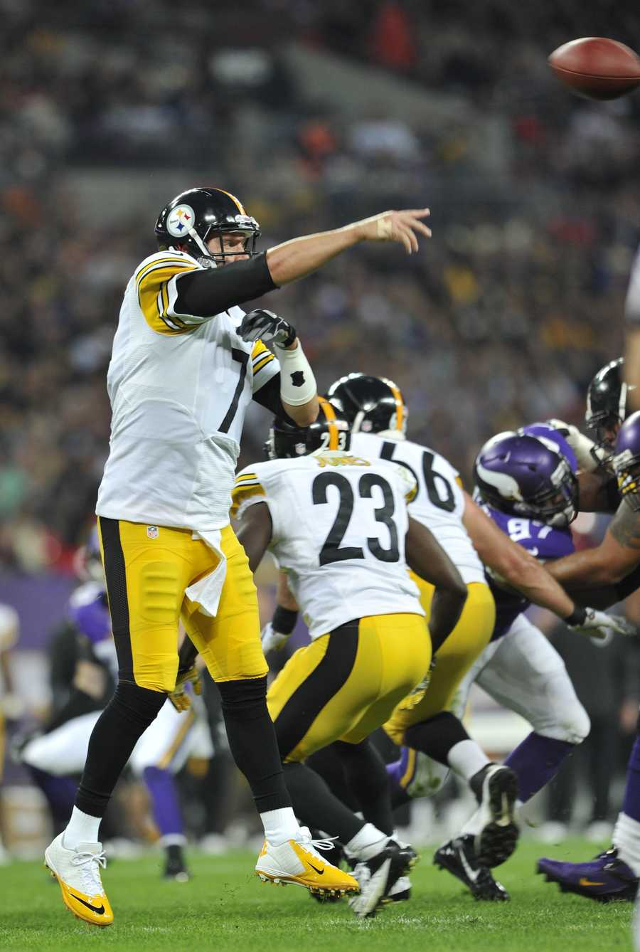 Ben Roethlisberger passed for 383 yards and a touchdown. He also threw a costly interception in the fourth quarter, and fumbled at the end of the game.