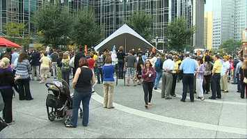 The Pirates playoff rally is underway at Market Square in downtown Pittsburgh.