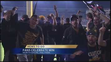 A sellout crowd watched the Pirates beat the Reds to notch the franchise's first playoff victory in 21 years. Many of them got creative with their celebrations.
