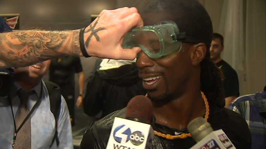 Burnett messed with McCutchen's goggles too.