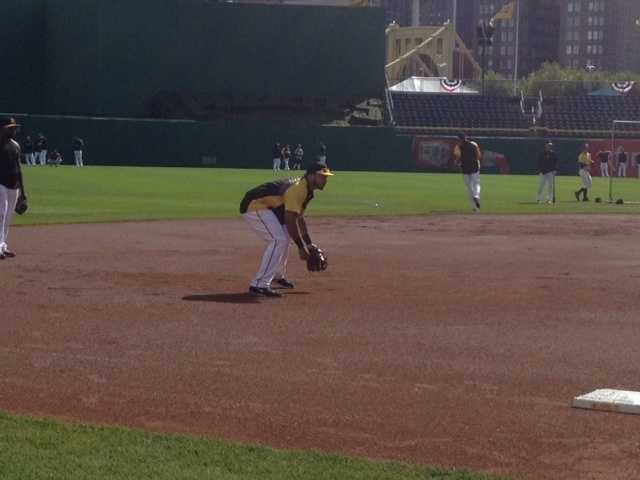 Pedro Alvarez gets in some practice time and fields ground balls before Game 4.