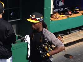 Andrew McCutchen in the dugout after batting practice.