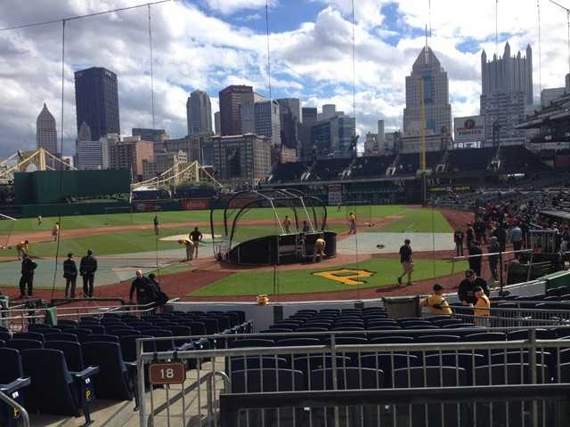 The Pirates took batting practice at PNC Park after a rainy morning.