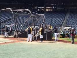 Batting practice.