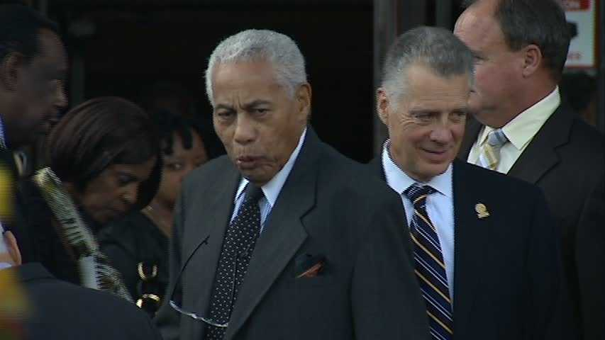 Bill Nunn Sr. (left) with Steelers President Art Rooney II. Nunn was a longtime member of the Steelers scouting staff.
