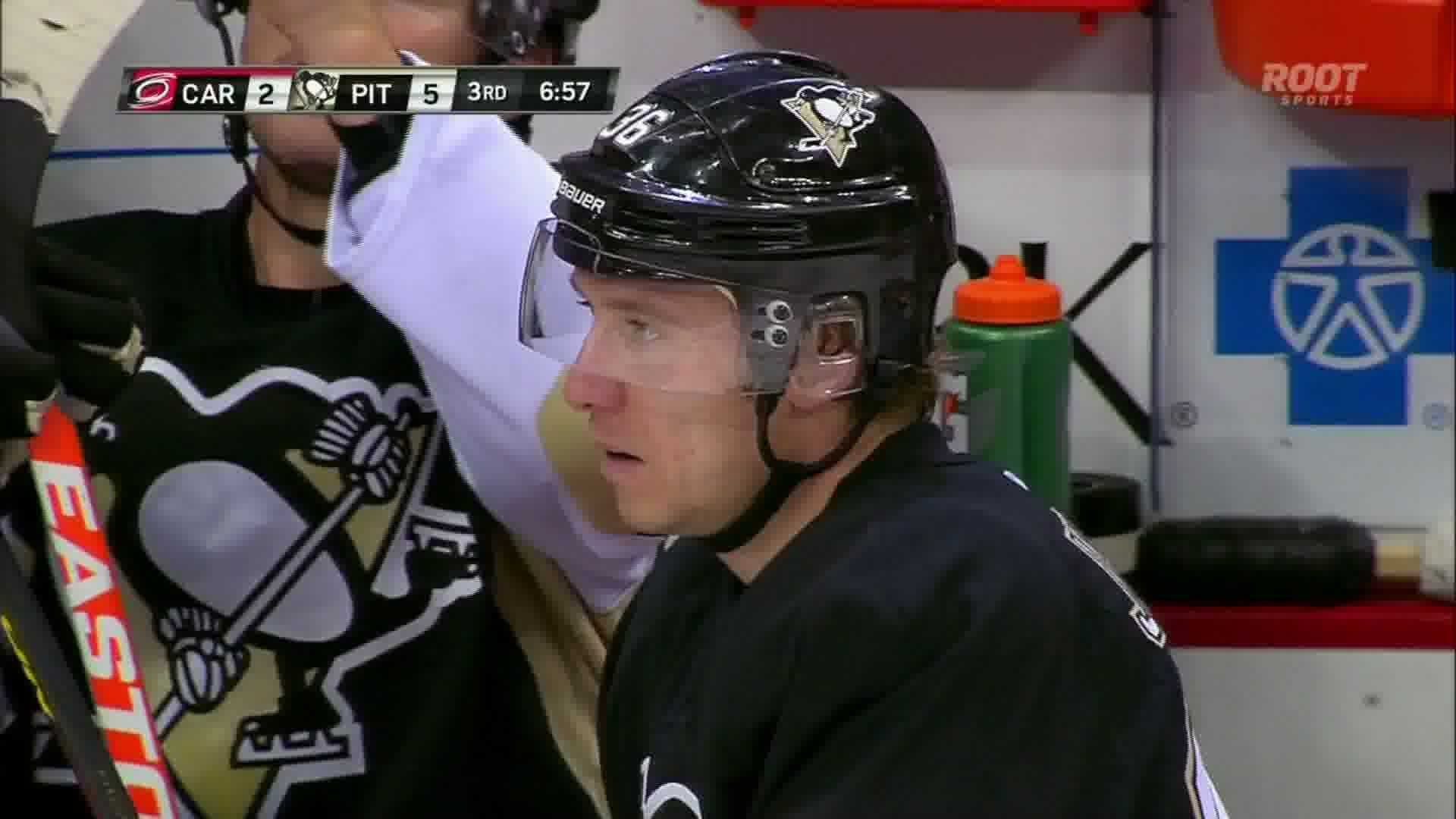 Jussi Jokinen scored three goals for the Penguins in Tuesday's 5-2 victory.
