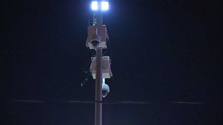 Security cameras are posted at stations along the East Busway.