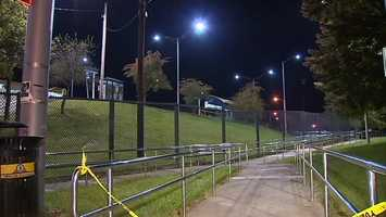 This pedestrian ramp leads from North Homewood Avenue to the Homewood Station on the East Busway.