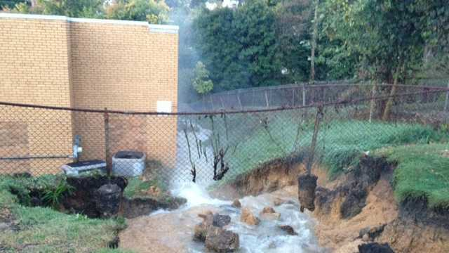 A water main broke behind the Duff Manor apartments on Kennedy Avenue in Export.