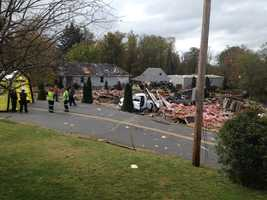An explosion leveled a house on Eldersville Road in Follansbee, W.Va., just over the line from Washington County, Pa.