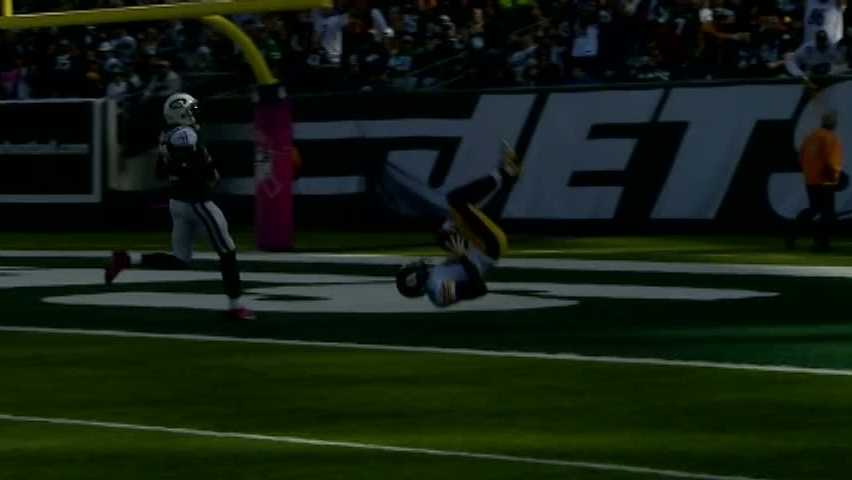 Emmanuel Sanders jumped and flipped into the end zone after a 55-yard reception for a touchdown.