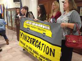 The Great Public Schools Pittsburgh coalition held a rally Monday before City Council's public hearing about a resolution that calls for the Pittsburgh Public Schools to immediately pause any school closings until after the 2014-2015 school year.
