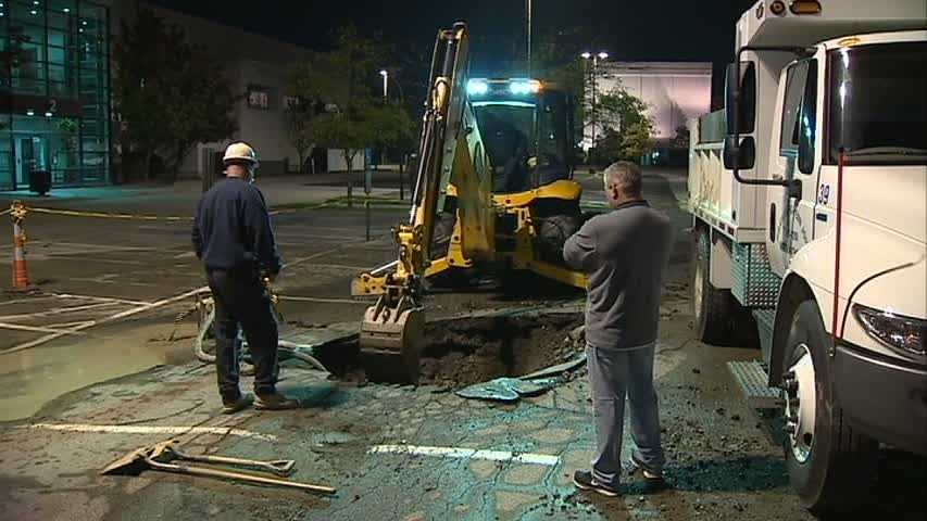 Water crews have been working all night to repair a broken water main in a parking lot along Business Route 22 in Wilkins Township.