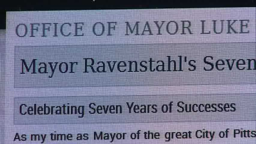 A screenshot of Mayor Luke Ravenstahl's message on the official City of Pittsburgh website.