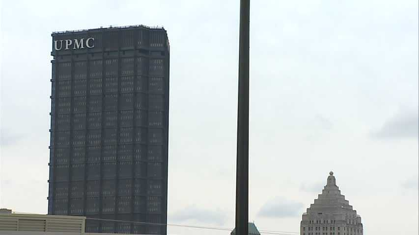 The view of the U.S. Steel Tower from the Shop 'n Save grocery store in the Hill District.