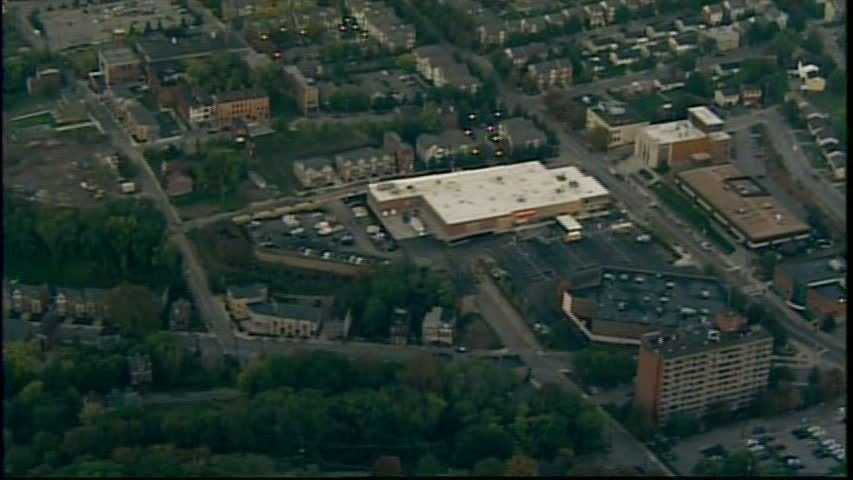An overhead look at the Centre Avenue corridor in the Hill District, with the new addition of a Shop 'n Save grocery store.
