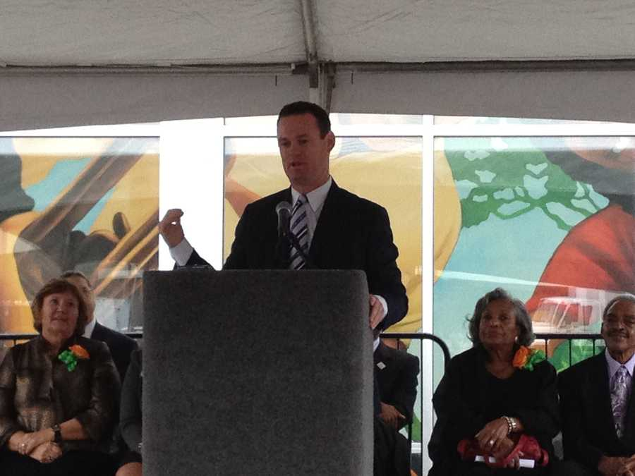 Pittsburgh Mayor Luke Ravenstahl spoke at the grand opening of Shop 'n Save in the Hill District.