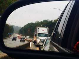 A look in the rear-view mirror shows traffic at a standstill on the parkway.