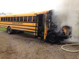 The school bus driver got all 18 students -- 17 in elementary school and one in middle school -- off the bus safely.