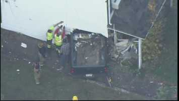 A pickup truck crashed into a home in Penn Hills on Monday afternoon.