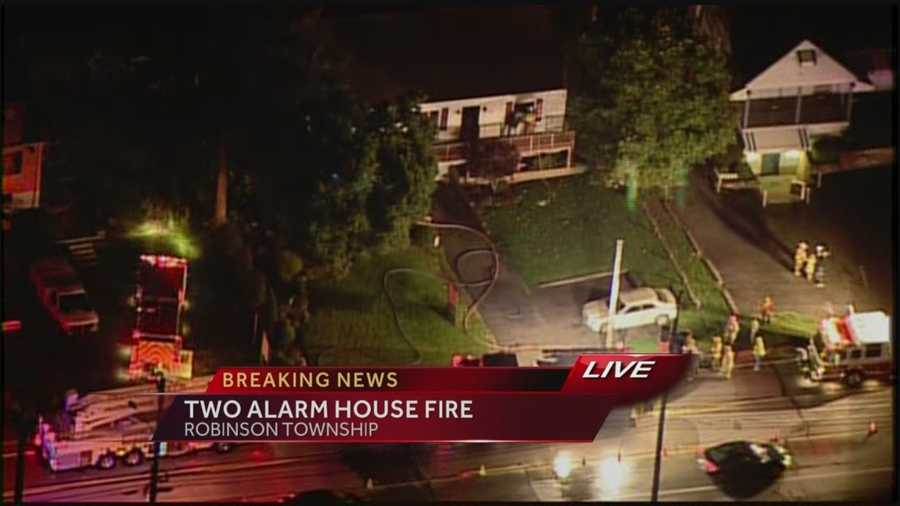 Sky 4 over the scene of this morning's two alarm blaze on Stuebenville Pike. Fire crews responded to a home fire around 5am this morning in Robinson Township and has left two people in the hospital. The Allegheny Fire Marshal's Office is currently investigating the fire.