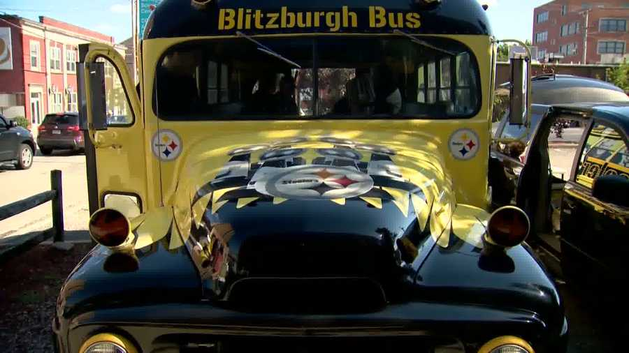 "Inside the black and gold ""Blitzburgh Bus,"" it looks like any typical pregame tailgate before a Steelers game at Heinz Field, but upon closer review, it's being led by a group of diehard fans from 2,500 miles away."