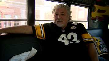 """""""I think it just goes back to I was in high school and Franco Harris and the Italian Army and that intrigued me, and I started watching the Steelers play and I just have a love for them. It doesn't go away,"""" said fellow Calgarian Joe Ferraro while sporting a Troy Polamalu jersey."""