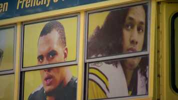 """""""And on the other side of the bus, we have the current Steelers, with Ben (Roethlisberger), Troy (Polamalu) and Maurkice (Pouncey)."""""""