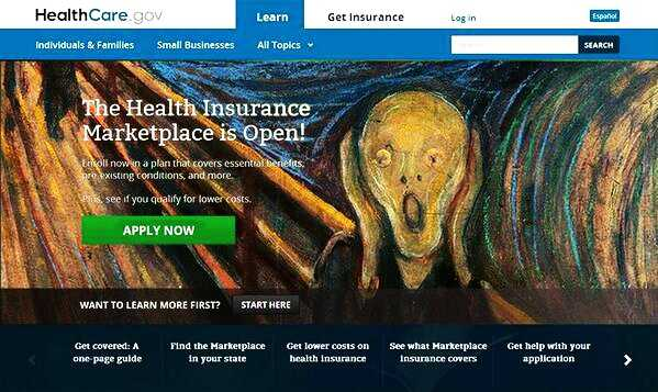 """On Twitter,@lachlan thought expressionist artist Edvard Munch's """"The Scream"""" painting was more fitting for healthcare.gov than the smiling woman."""
