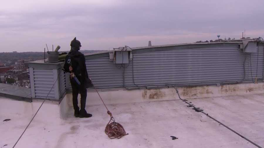 From the top of Children's Hospital, the Dark Knight can keep watch over all of Gotham City (a.k.a. Lawrenceville).