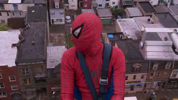 Usually, Spider-Man prefers to swing from buildings by spinning his webs&#x3B; today, he used a window-washer's cables instead.
