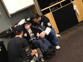 Wearing a Crosby T-shirt and accompanied by his parents, Matthew and his family toured the locker room and got to take in practice at Consol Energy Center. The night before, they watched as the team's guests as the Penguins defeated the Bruins 3-2.