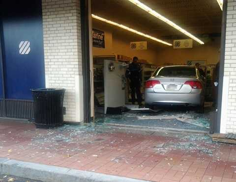 The accident shattered the glass at West Marine in the McKnight Siebert Shopping Center on McKnight Road.