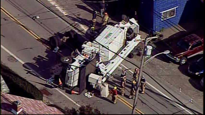 A truck flipped onto its side and landed in the middle of Frankstown Road in Penn Hills.