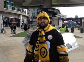 A Steelers fan at Gillette Stadium, home of the Patriots.