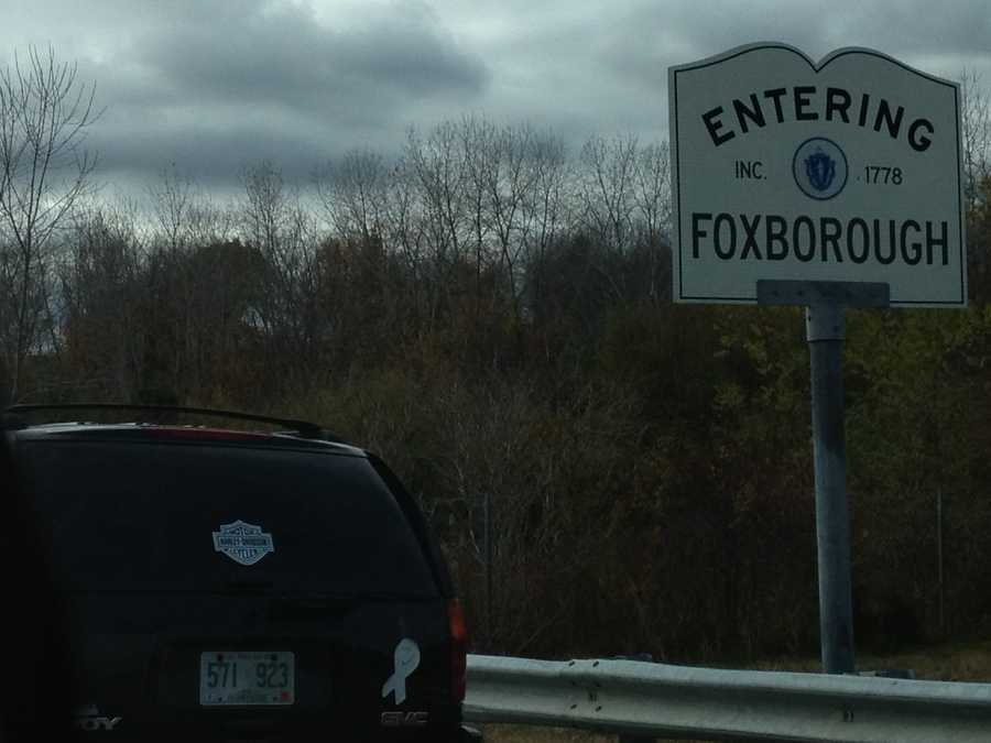 This road sign welcomes drivers to Foxborough, Mass.
