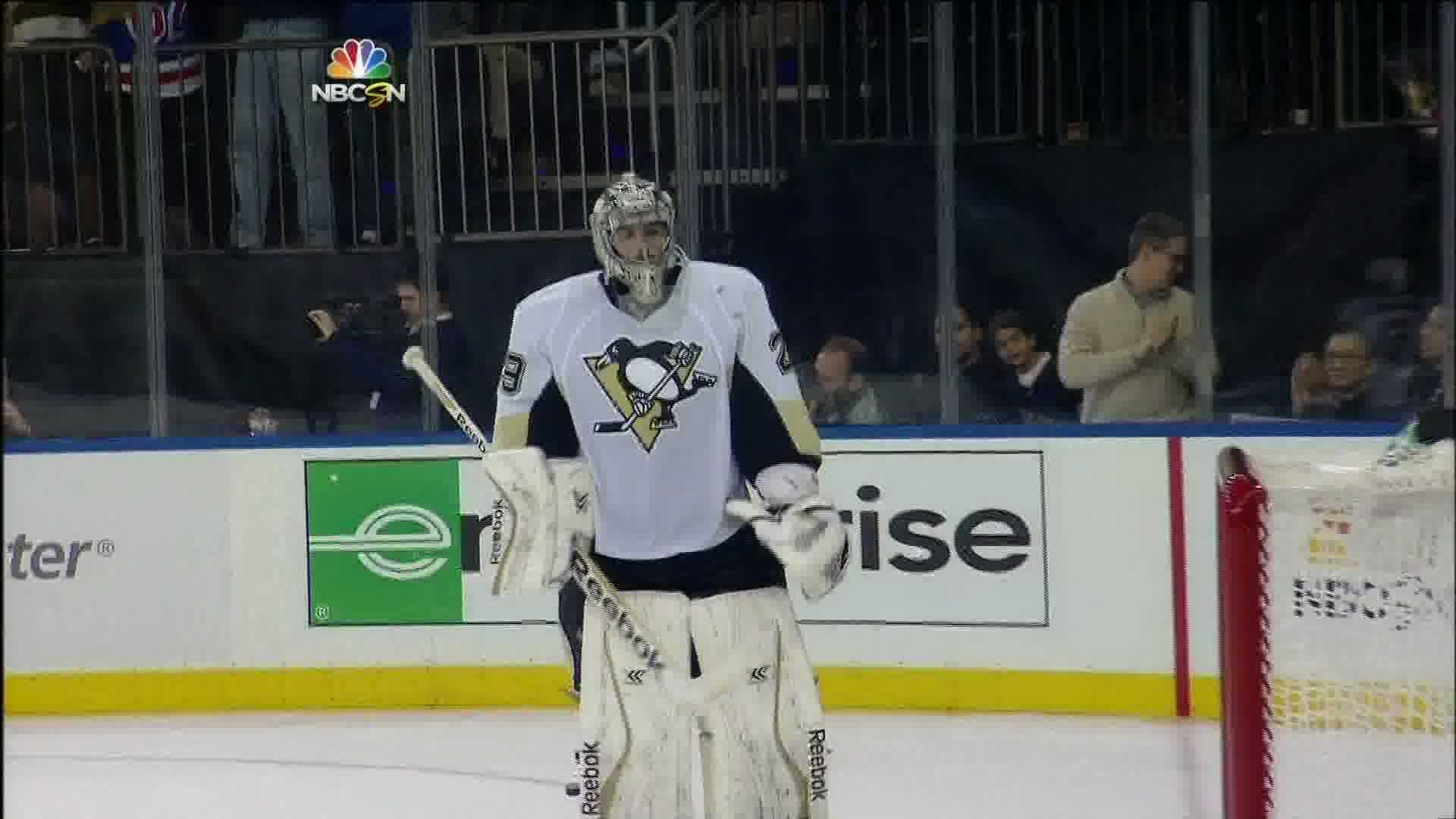 Marc-Andre Fleury surrendered 5 goals in a road loss to the New York Rangers.