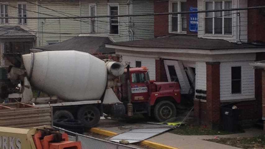 Cement truck into building