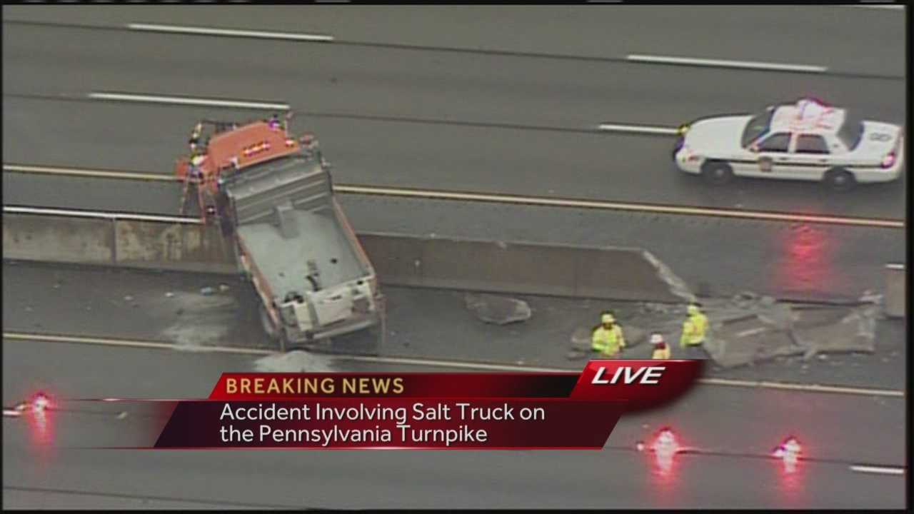 A salt truck and tractor trailer collided on the Pennsylvania Turnpike Tuesday morning near Irwin.